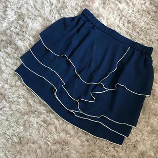 フェリシモ(FELISSIMO)のひらひらティアードスカート♡ウエストゴム♡大きめサイズ(ミニスカート)