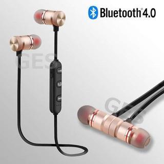 ★ゴールド&ブラック マグネット付 Bluetooth ワイヤレス イヤホン(ヘッドフォン/イヤフォン)