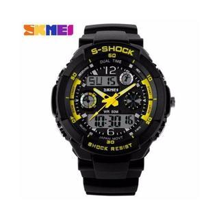 SKMEI S-SHOCK LED イエロー デジアナ 防水腕時計 Sショック(腕時計(デジタル))