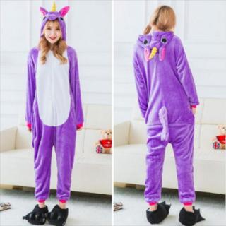 着ぐるみ 大人用 ユニコーン紫 パジャマ アニマル フリース プレゼント 動物(ルームウェア)
