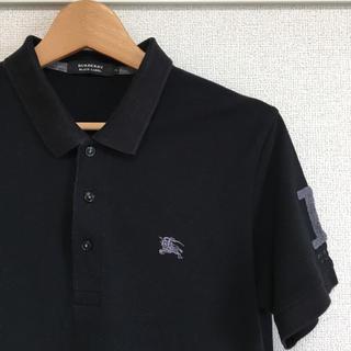 バーバリー(BURBERRY)の美品【 BURBERRY BLACK LABEL 】半袖ポロシャツ ブラック(シャツ)