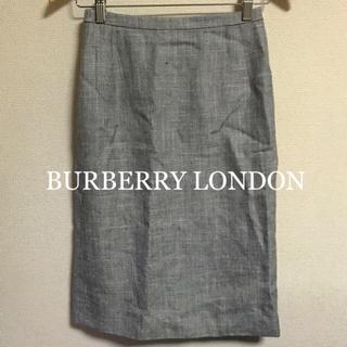 バーバリー(BURBERRY)の美品 BURBERRY LONDON リネンシルクタイトスカート グレー 38(ひざ丈スカート)