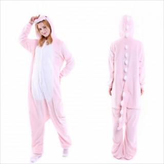着ぐるみ 大人用 恐竜ピンク パジャマ アニマル フリース 冬 プレゼント 動物(ルームウェア)