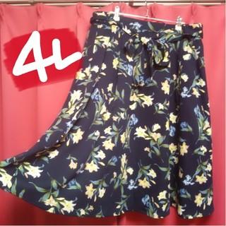 新品タグ付❤今季*4L☆ウエストゴム◆リボンの華やか花柄シフォンスカート(ひざ丈スカート)