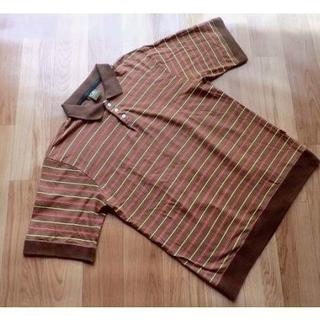 オクトパスアーミー(OCTOPUS ARMY)のOCTOPUSARMY オクトパスアーミー■ボーダー・半袖ポロシャツ■茶■綿■L(ポロシャツ)