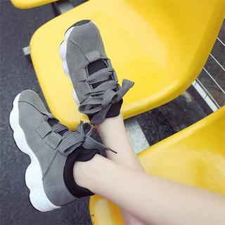 人気★韓国風太ひもレースアップ厚底スニーカー【35】22.5cm 可愛い(スニーカー)