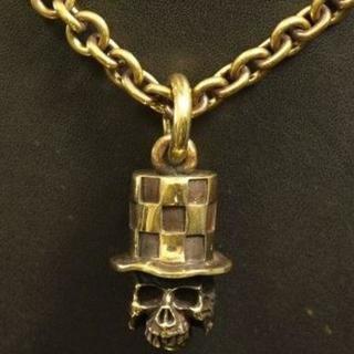 真鍮製★ハットスカル★ベル★ピストン・アイアンクロス(ネックレス)