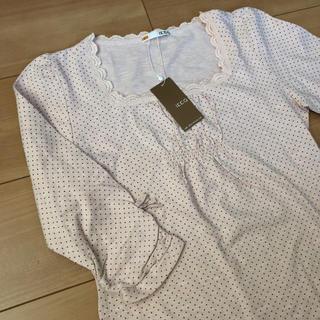 イッカ(ikka)のIkka 総ドット柄8分袖丈レースリボン新品タグ付【150】(Tシャツ/カットソー)