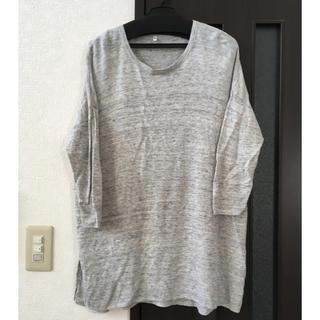 MUJI (無印良品) - 無印良品♡裾スリット入りリネン七分袖カットソー