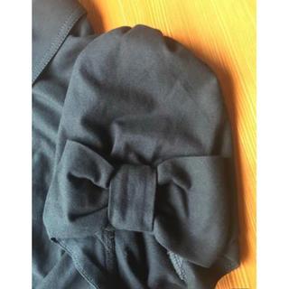 M'S GRACY - エムズグレイシー 衿付 リボン パフ袖 シャーリングトップス 40 黒 襟