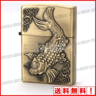 錦鯉 立体彫り オイルライター JNGLIANG ゴールド 鯉  Zippo 金(タバコグッズ)