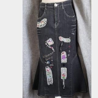 アルベロ(ALBERO)の大変美品 アルベロベロ 日本製 極可愛いデニムロングスカート 黒(ロングスカート)