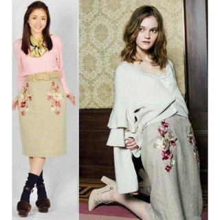 「限定セール!」花柄 フラワー刺繍 ヘリンボーン スカート・M ベージュ(ひざ丈スカート)