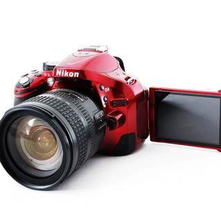 ★セルフィ&驚愕の2410万画素★Nikon D5200 レッド 高級レンズ付(デジタル一眼)