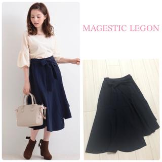 マジェスティックレゴン(MAJESTIC LEGON)の新品 マジェスティックレゴン ヘムライン切替スカート ネイビー(ひざ丈スカート)