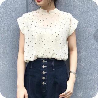 カスタネ(Kastane)の新品♡ドットハイネックブラウス♡ホワイト(シャツ/ブラウス(半袖/袖なし))