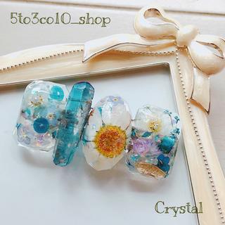 No.120 blue crystal バレッタ