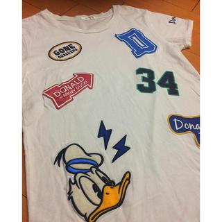ディズニー(Disney)のドナルドホワイトデザインコットンTi(((Tシャツ(半袖/袖なし))