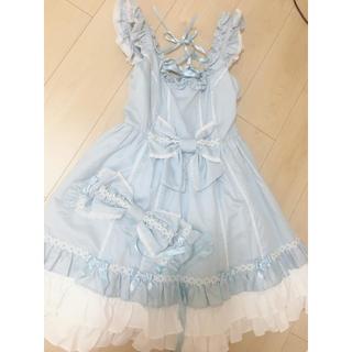 アンジェリックプリティー(Angelic Pretty)のアンプリ お花レース jsk ヘッドドレス set(ひざ丈ワンピース)