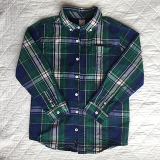 ジンボリー(GYMBOREE)のGYMBOREEジンボリーキッズ チェックボタンダウンシャツ 紺緑系M(7/8)(ブラウス)