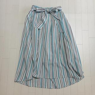 シマムラ(しまむら)のマルチボーダー ヘムスカート ブルー ネイビー ホワイト(ひざ丈スカート)