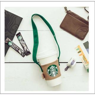 Starbucks Coffee - スターバックス 持ち手付き カップスリーブ ドリンクホルダー ロゴ 帆布