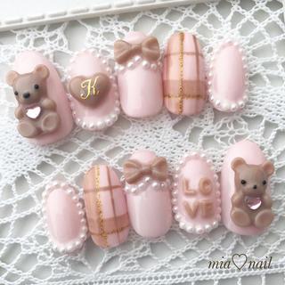 ゆめかわいい〜可愛いクマさんのピンク&ブラウンネイル