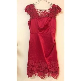 エンジェルアール(AngelR)のキャバドレス 赤カットワークタイトシルク高級(ナイトドレス)