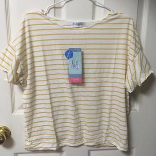 シマムラ(しまむら)の新品しまむら半袖フリル素肌涼やかボーダーTシャツM(Tシャツ(半袖/袖なし))