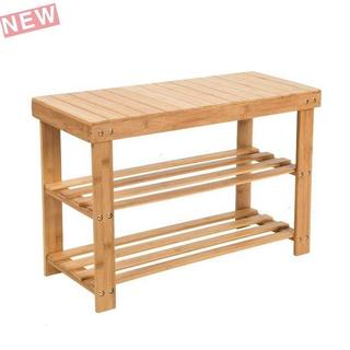 SMAGREHOシューズラック 天然竹製 腰掛け可能 玄関ベンチ スツー
