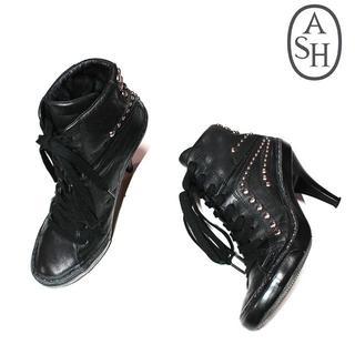 アッシュ(ASH)のASHアッシュ 本革レザースタッズハイヒールブーツ38ブラック (ハイヒール/パンプス)