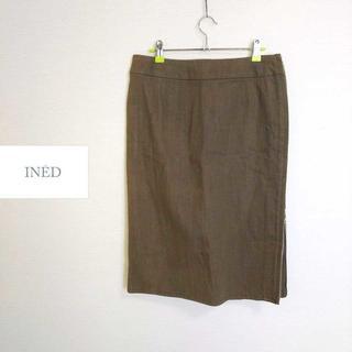 イネド(INED)のイネド INED★大きいサイズ 15号 ストレッチタイトスカート カーキ系 ラメ(ひざ丈スカート)