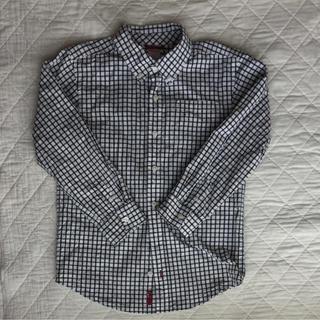 ジンボリー(GYMBOREE)のGYMBOREEジンボリーキッズ チェックボタンダウンシャツ紺白系 M(7/8)(ブラウス)