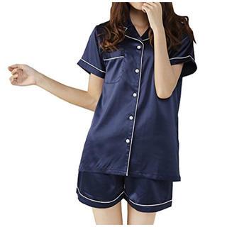 格安! レディース パジャマ 半袖 ルームウェア 部屋着 ブルー サイズM(パジャマ)