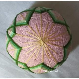 てまり「桜」桃地、緑 手まり 手毬 手鞠(その他)