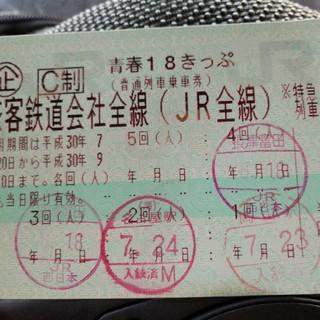 ジェイアール(JR)の青春18きっぷ 残1回 クリックポスト送料込(鉄道乗車券)