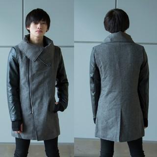 ❤️モード❤️ 変形ネックライダースロングコート メンズ 黒色(ライダースジャケット)