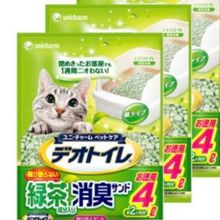 Unicharm - ユニチャーム消臭抗菌デオトイレ緑茶成分入り消臭サンド4L×3袋おやつ4種類オマケ