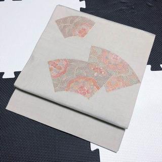 汕頭刺繍☆白緑色地扇面模様正絹紬袋帯 洒落帯(帯)