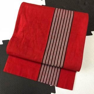 紅色地縞模様紬正絹名古屋帯(帯)