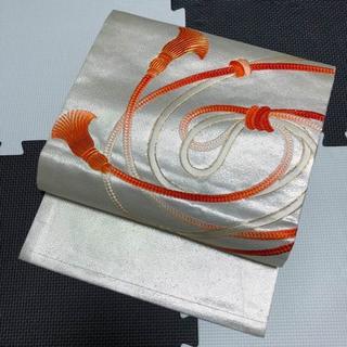 白銀色地組紐模様正絹名古屋帯(帯)