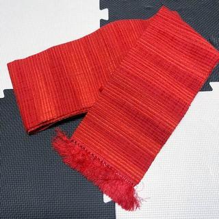 赤地縞模様正絹半幅帯(帯)