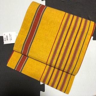 黄色地縞模様正絹紬名古屋帯(帯)
