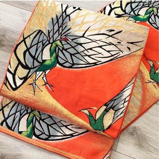 ◆正絹 オレンジ色地に色とりどりのキジ模様 袋帯 金糸◆(帯)