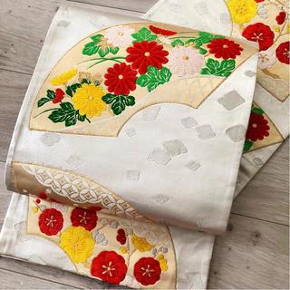 ◆正絹 銀糸織に扇面菊・梅模様 袋帯 金糸・銀糸◆(帯)