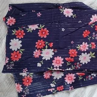 浴衣♡ 紺地に可愛いコスモス柄♡ラメ(浴衣)