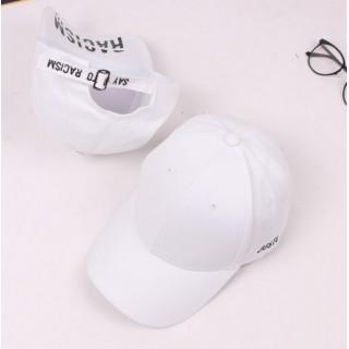 justo ロゴ 刺繍 キャップ 帽子 ローキャップ  ホワイト(キャップ)