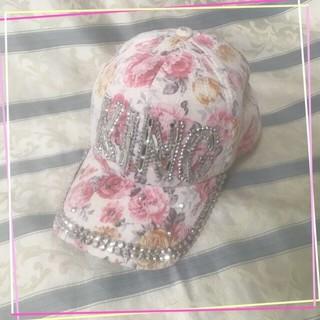 キラキラ ピンク 花柄 キャップ 帽子(キャップ)