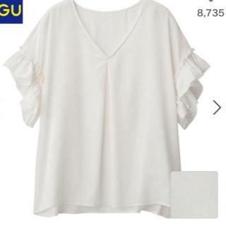ジーユー(GU)のラッフルブラウス❤️ブラック(シャツ/ブラウス(半袖/袖なし))