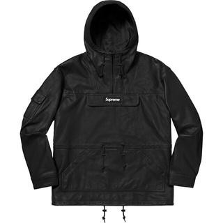 シュプリーム(Supreme)のSupreme Leather Anorak レザーアノラック  ブラック M(レザージャケット)